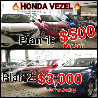 $500 OR $3,000 HONDA VEZEL CLEARANCE SALES.  💯% FULL LOAN DRIVEAWAY APPROVAL! 🔥🔥🔥