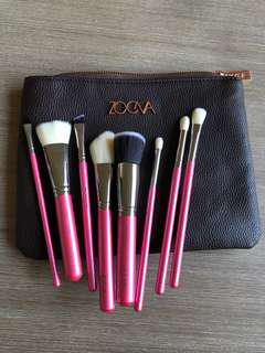Zoeva set 8 makeup brushes + pouch element pink brand new