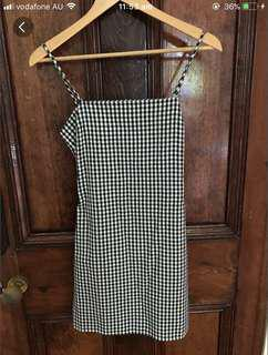 Gingham / check tie back mini dress