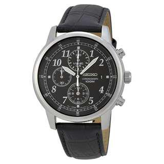 🚚 [AS-IS] Seiko SNDC33 Men's Classic Black Leather Black Chronograph Dial Watch
