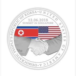 (Silver) United States - North Korea Summit 2018 1 oz 999 Fine Silver Proof Medallion