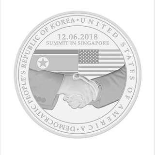 (Nickel) United States - North Korea Summit 2018 Nickel-plated Zinc Proof-Like Medallion