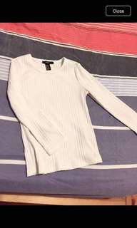 Forever 21 Light cream ribbed  long sleeves top