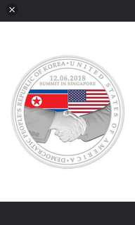 2018 Trump Kim US North Korea Summit 1 Ounce 999 Silver Medal