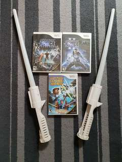 PRELOVED WII games Star Wars bundle with lightsabers