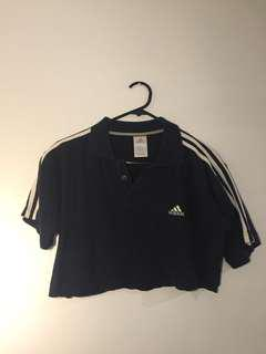 cropped adidas polo navy blue top