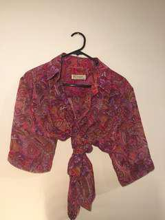 pink and purple paisley 70s looking button up tie up top