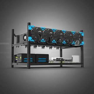 Veddha Black Aluminum 6 GPU Rack for Crypto Mining