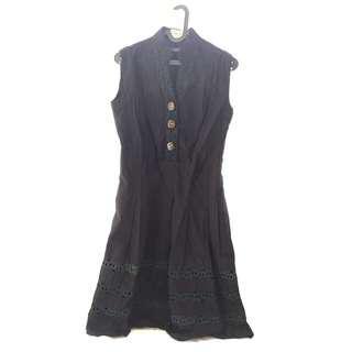 Black Sleeveless Long Dress / Baju Hitam Panjang Tanpa Lengan Gaun Kain