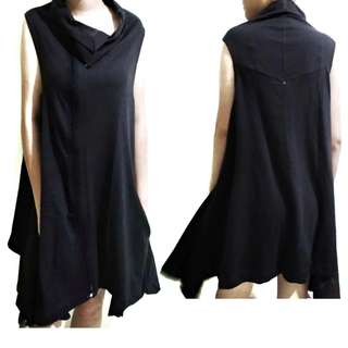 Sleeveless Long Shirt Black / Baju Hitam Tanpa Lengan Semi Hoodie Panjang Cool Keren Baru New Jual Murah Rugi Cepat