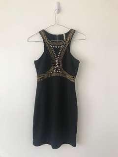 Size 8 black cocktail bodycon mini dress