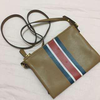 Old Navy Sling Bag in Tan Brown. Double Zipper.