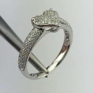18K白金戒指 42份鑽石 18K Withe gold Ring 0.42ct Diamond