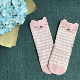Pink Snooze Bear - Animal Knee Length Socks