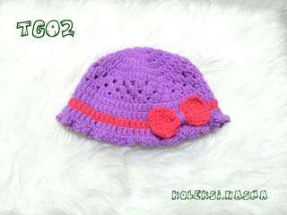 Topi bayi rajut baby newborn ungu