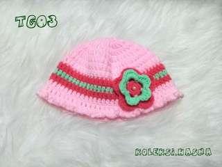Topi rajut bayi baby Newborn pink