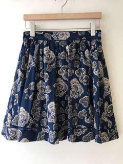 b+ab 藍色碎花雪紡短裙