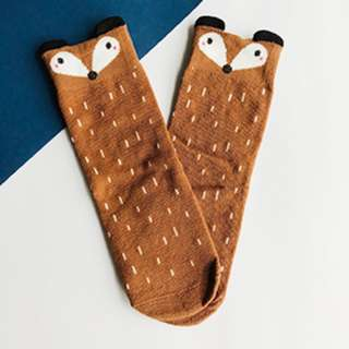 Brown Spotted Fox - Animal Knee Length Socks