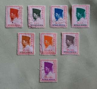 Vintage Republic  Indonesia Stamps - 1965 Conefo Series - President Soekarno