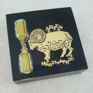 Horoscope Aries Hourglass Paper Weight