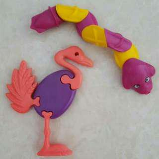 Flamingo & Snake Brick Toy Figurine