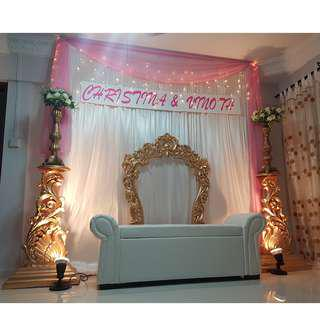 Engagement / Birthday / ROM / Wedding Backdrop Setup / Props Rental Service / Mini Pelamin / Mini Dais / Bangle Ceremony / Engagement / Baby Shower Deco