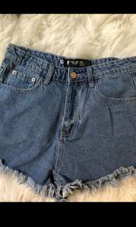 """USED"" denim shorts"