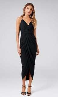 Forever New Black Charlotte Drape Maxi Dress