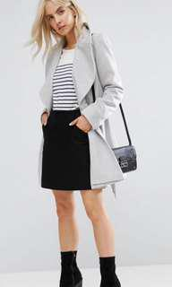FREE SHIPPING Asos belted grey soft duster skater coat
