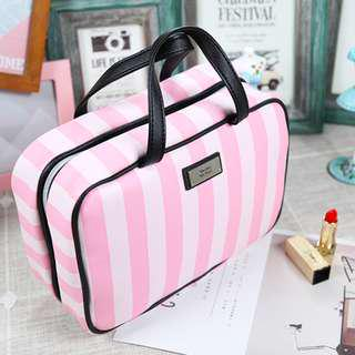 Waterproof Vs Pink Stripe Ribbon PU Makeup Bag Best Travel Bag