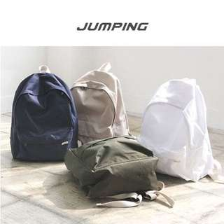Instock | MUJI inspired white canvas backpack schoolbag