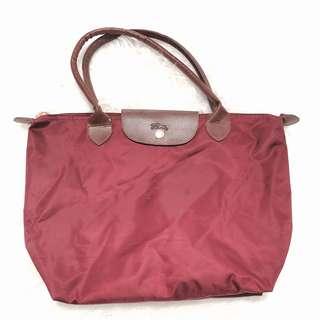 Longchamp maroon bag ori leather