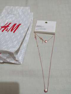 H&M rose gold necklace and bracelet set