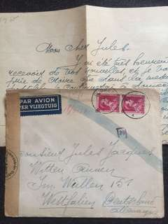 WW2 Belgium 1943 Censor Cover + Letter to Westfalen Germanu