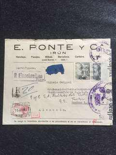 WW2 Spain Censor Cover San Sebastian Spain to Bocum Germany 1942