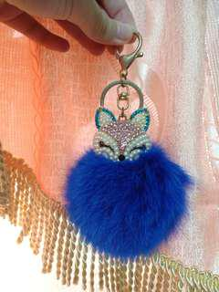 Blue Fur ball keyring/keychain