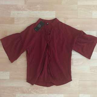 nwt maroon bell sleeve blouse
