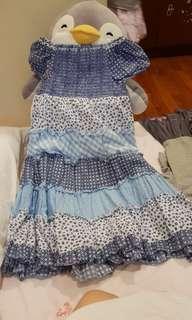 Blue floral smocking dress