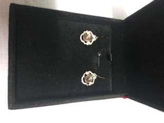 Pink quartz rose gold 925 earrings (brand new)