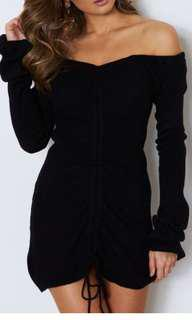 Chantel ruched black mini dress worn once excellent condition