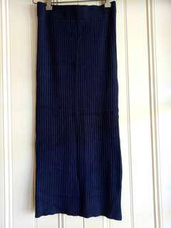 Navy ribbed midi skirt thigh split