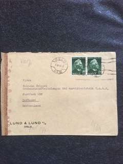 WW2 Norway 1943 Censor Cover Oslo to Dortmund Germany w Rare OKW Geoffnet (b) Swatstika Censor Mark