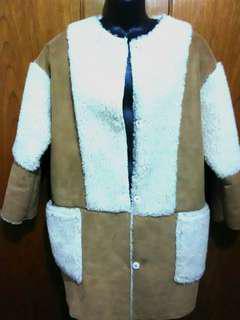 Suede/wool coat.