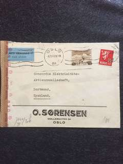 WW2 Norway 1943 Censor Cover Oslo to Dortmund Germany w Rare Red OKW Geoffnet (b) Swastika Censor Mark