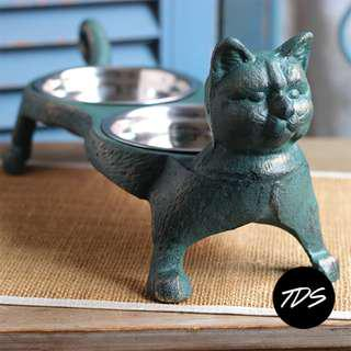 ⚡️Märta Country Cast-Iron Cat food x Water Bowl Stand