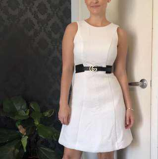 Cue - white dress with black waist band - size 6