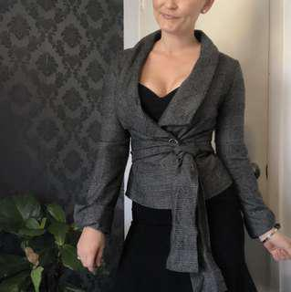 Grey jacket with attached belt - cotton poly wool blend