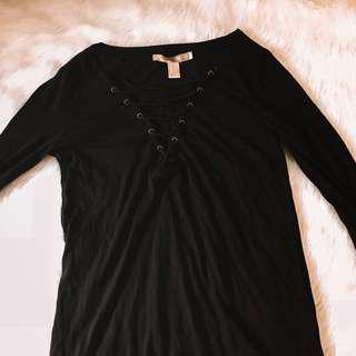 Black Strappy Long Sleeves Top