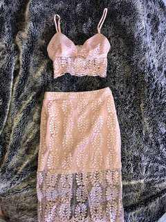 Bardot lace set midi skirt size M