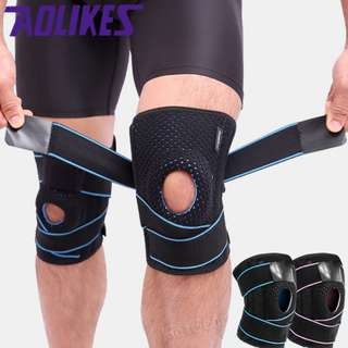 🚚 KneeGuard with Silicone Ring and Straps and Metal Support / Non Slip Knee Brace Sleeve Pad for Arthritis Meniscus Tear Running Basketball Athletic Runner Adjustable Open Patella Stabilizer Protector to Relieve Pain Sports Injury Recovery